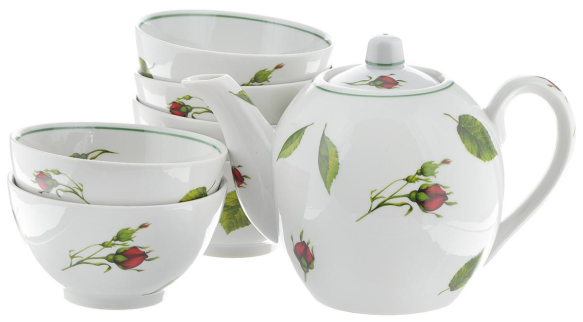 Набор чайный Фарфор Вербилок Бутоны раскидные, 7 предметов21651050Чайный набор Фарфор Вербилок Бутоны раскидные состоит из 6 пиал и заварочного чайника. Изделия выполнены из высококачественного фарфора и оформлены цветочным рисунком. Изящный чайный набор прекрасно оформит стол к чаепитию и порадует вас элегантным дизайном и качеством исполнения. Объем чайника: 800 мл. Высота чайника (без учета крышки): 12 см. Диаметр чайника (по верхнему краю): 4,5 см. Объем пиалы: 300 мл. Диаметр пиалы (по верхнему краю): 10,7 см. Высота пиалы: 6 см.
