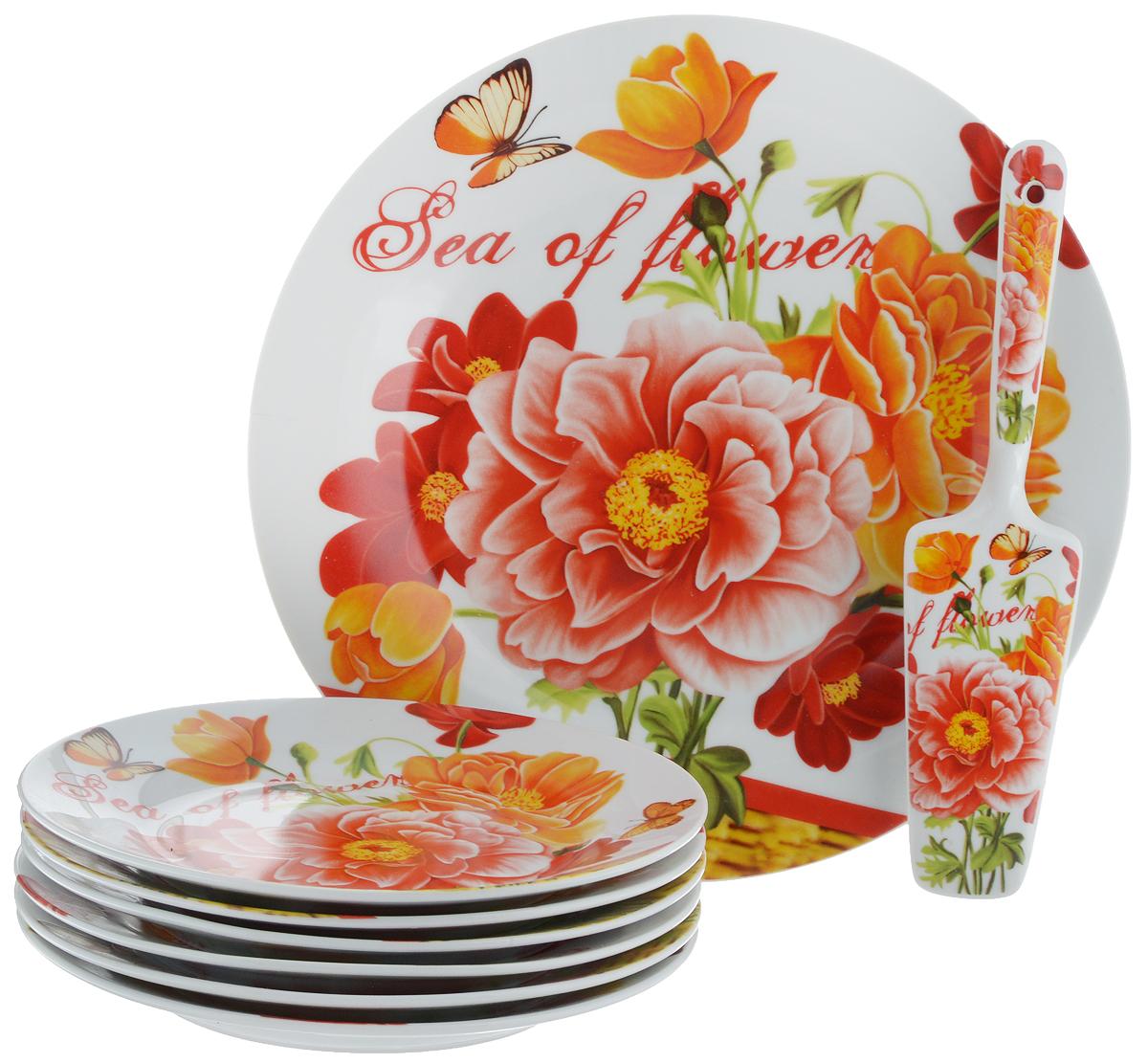 Набор для торта Bella, 8 предметов. DL-S8CB-177DL-S8CB-177Набор для торта Bella состоит из 7 тарелок и лопатки. Изделия выполнены из высококачественного фарфора и оформлены ярким рисунком. Набор идеален для подачи тортов, пирогов и другой выпечки. Яркий дизайн сделает набор изысканным украшением праздничного стола. Диаметр меленьких тарелок: 19,3 см. Диаметр большой тарелки: 26,5 см. Размеры лопатки: 23 х 5,3 х 2 см.