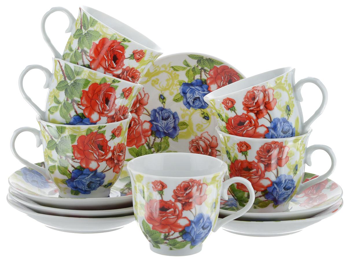 Набор чайный Bella, 12 предметов. DL-RF6-173DL-RF6-173Чайный набор Bella состоит из 6 чашек и 6 блюдец, изготовленных из высококачественного фарфора. Такой набор прекрасно дополнит сервировку стола к чаепитию, а также станет замечательным подарком для ваших друзей и близких. Объем чашки: 220 мл. Диаметр чашки (по верхнему краю): 8 см. Высота чашки: 7 см. Диаметр блюдца: 14 см. Высота блюдца: 2 см.