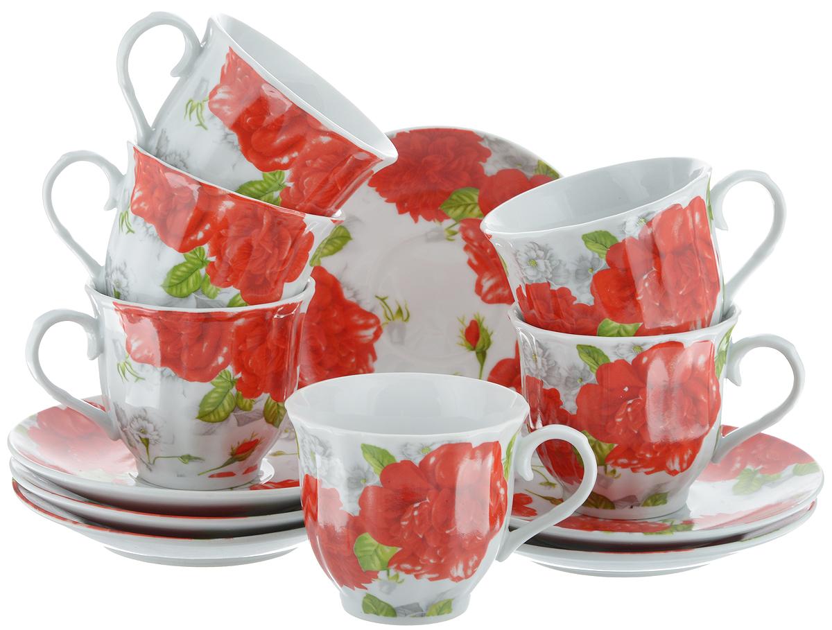 Набор чайный Bella, 12 предметов. DL-RF6-073DL-RF6-073Чайный набор Bella состоит из 6 чашек и 6 блюдец, изготовленных из высококачественного фарфора. Такой набор прекрасно дополнит сервировку стола к чаепитию, а также станет замечательным подарком для ваших друзей и близких. Объем чашки: 220 мл. Диаметр чашки (по верхнему краю): 8 см. Высота чашки: 7 см. Диаметр блюдца: 14 см. Высота блюдца: 2 см.