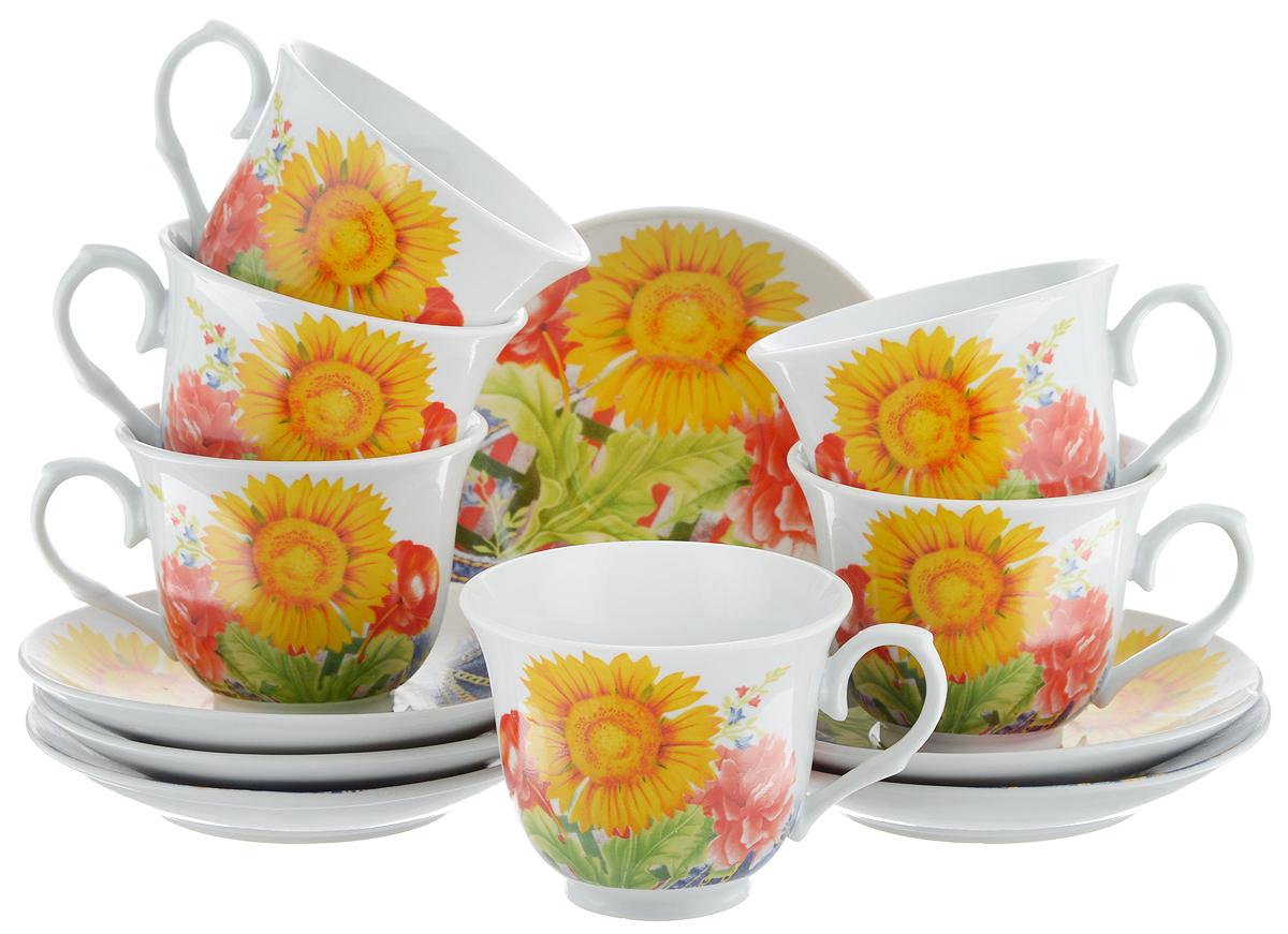 Набор чайный Bella, 12 предметов. DL-RP6-155DL-RP6-155Чайный набор Bella состоит из 6 чашек и 6 блюдец, изготовленных из высококачественного фарфора. Такой набор прекрасно дополнит сервировку стола к чаепитию, а также станет замечательным подарком для ваших друзей и близких. Объем чашки: 220 мл. Диаметр чашки (по верхнему краю): 8 см. Высота чашки: 7 см. Диаметр блюдца: 14 см. Высота блюдца: 2 см.