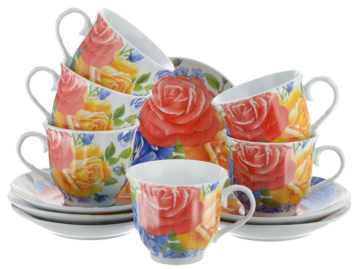 Набор чайный Bella, 12 предметов. DL-RF6-175DL-RF6-175Чайный набор Bella состоит из 6 чашек и 6 блюдец, изготовленных из высококачественного фарфора. Такой набор прекрасно дополнит сервировку стола к чаепитию, а также станет замечательным подарком для ваших друзей и близких. Объем чашки: 220 мл. Диаметр чашки (по верхнему краю): 8 см. Высота чашки: 7 см. Диаметр блюдца: 14 см. Высота блюдца: 2 см.