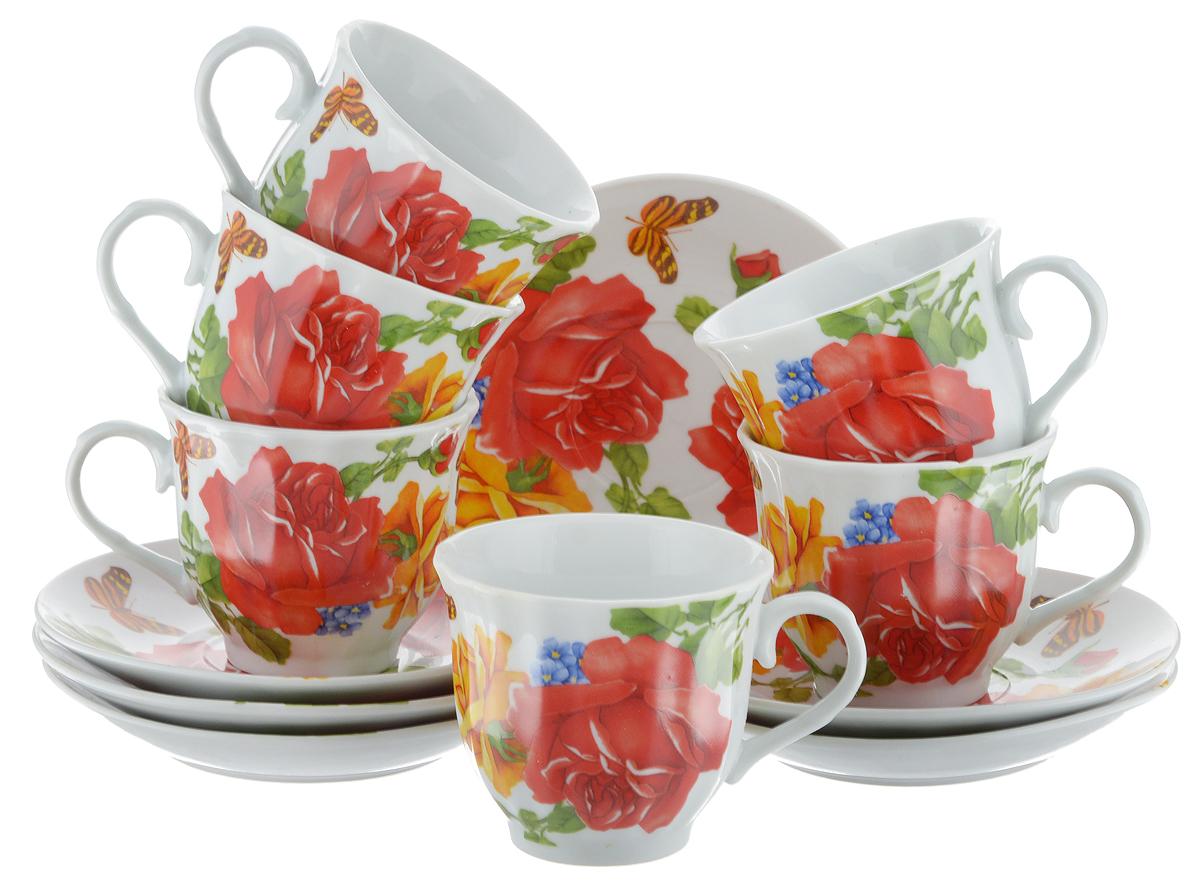 Набор чайный Bella, 12 предметов. DL-RF6-176DL-RF6-176Чайный набор Bella состоит из 6 чашек и 6 блюдец, изготовленных из высококачественного фарфора. Такой набор прекрасно дополнит сервировку стола к чаепитию, а также станет замечательным подарком для ваших друзей и близких. Объем чашки: 220 мл. Диаметр чашки (по верхнему краю): 8 см. Высота чашки: 7 см. Диаметр блюдца: 14 см. Высота блюдца: 2 см.