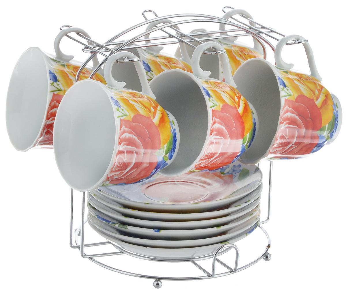 Набор чайный Bella, 13 предметов. DL-F6MS-175DL-F6MS-175Набор Bella состоит из 6 чашек и 6 блюдец, изготовленных из высококачественного фарфора. Чашки оформлены красочным рисунком. Изделия расположены на металлической подставке. Такой набор подходит для подачи чая или кофе. Изящный дизайн придется по вкусу и ценителям классики, и тем, кто предпочитает современный стиль. Он настроит на позитивный лад и подарит хорошее настроение с самого утра. Чайный набор Bella - идеальный и необходимый подарок для вашего дома и для ваших друзей в праздники. Объем чашки: 220 мл. Диаметр чашки (по верхнему краю): 8 см. Высота чашки: 7 см. Диаметр блюдца: 14 см. Высота блюдца: 2,3 см. Размер подставки: 17 х 16,5 х 19 см.