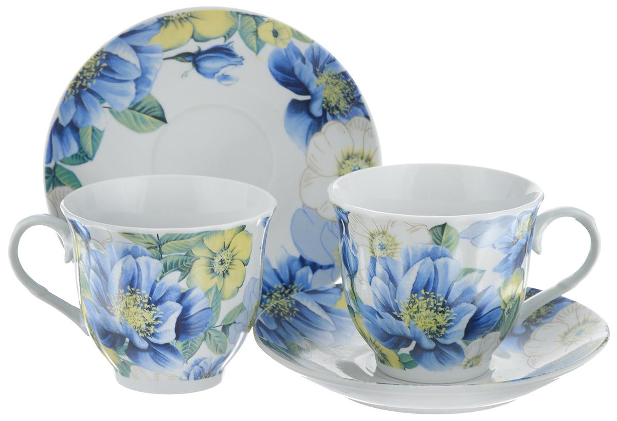 Набор чайный Bella, 4 предмета. DL-F2GB-182DL-F2GB-182Чайный набор Bella состоит из 2 чашек и 2 блюдец, изготовленных из высококачественного фарфора. Такой набор прекрасно дополнит сервировку стола к чаепитию, а также станет замечательным подарком для ваших друзей и близких. Объем чашки: 220 мл. Диаметр чашки (по верхнему краю): 8 см. Высота чашки: 7 см. Диаметр блюдца: 14 см. Высота блюдца: 2 см.