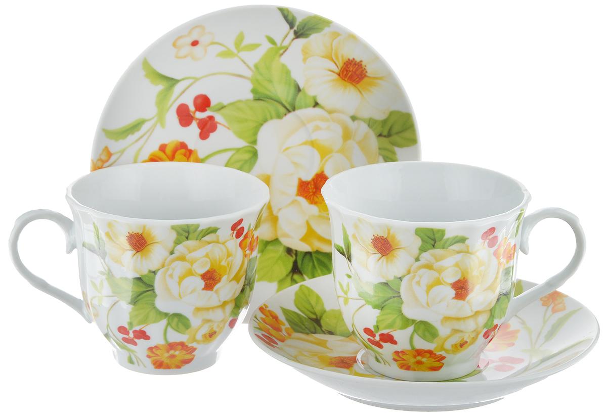 Набор чайный Bella, 4 предмета. DL-F2GB-178DL-F2GB-178Чайный набор Bella состоит из 2 чашек и 2 блюдец, изготовленных из высококачественного фарфора. Такой набор прекрасно дополнит сервировку стола к чаепитию, а также станет замечательным подарком для ваших друзей и близких. Объем чашки: 220 мл. Диаметр чашки (по верхнему краю): 8 см. Высота чашки: 7 см. Диаметр блюдца: 14 см. Высота блюдца: 2 см.