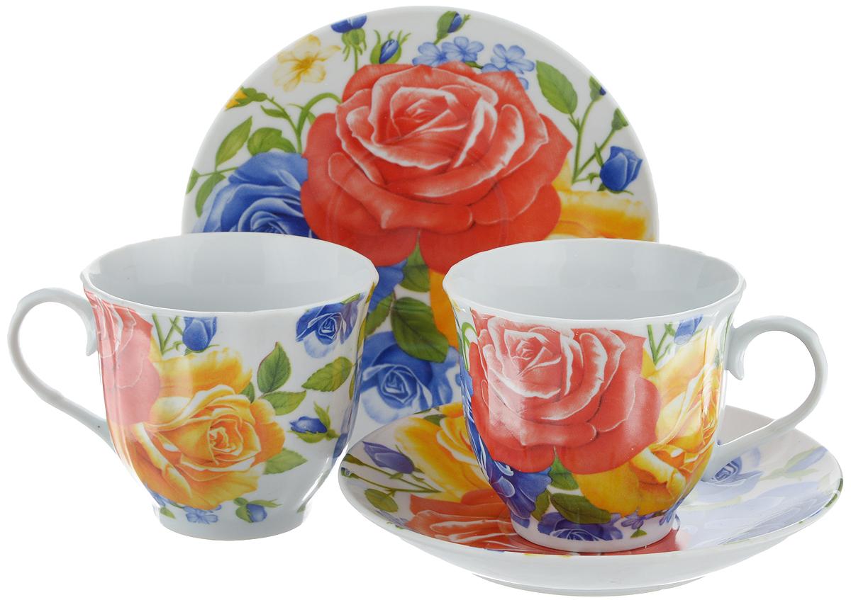 Набор чайный Bella, 4 предмета. DL-F2GB-175DL-F2GB-175Чайный набор Bella состоит из 2 чашек и 2 блюдец, изготовленных из высококачественного фарфора. Такой набор прекрасно дополнит сервировку стола к чаепитию, а также станет замечательным подарком для ваших друзей и близких. Объем чашки: 220 мл. Диаметр чашки (по верхнему краю): 8 см. Высота чашки: 7 см. Диаметр блюдца: 14 см. Высота блюдца: 2 см.