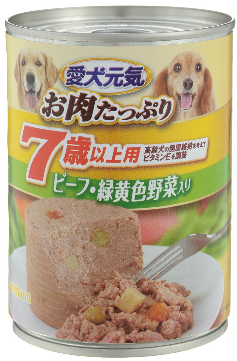 Консервы Unicharm Aiken Genki для собак с 7 лет, с говядиной и овощами, 375 г671481Влажный корм для собак Unicharm Aiken Genki - это сбалансированное высококачественное питание для собак старше 7 лет. Аппетитные сочные кусочки говядины в тающем соусе не только вкусны, но и очень полезны. Продукт произведен с сохранением всех свойств натуральной говядины, содержит комплекс питательных веществ и микроэлементов, необходимых для полноценного развития вашего четвероногого друга. Корм полностью удовлетворяет ежедневные энергетические потребности взрослого животного и обеспечивает оптимальное функционирование пищеварительной системы. Состав: курица, говядина, куриный экстракт, пшеничная мука, приправа, глюкоза, ксилоза, витамины и минералы (В1, В2, В6, D, E, кальций, хлор, калий, натрий, фосфор), стабилизатор (гуаровая камедь), консервант (нитрит натрия), красители (диоксид титана, оксид железа). Пищевая ценность (на 100 г): белки - 5%, липиды - 4%, клетчатка - 1,5%, зола - 4%, влажность - 85%, энергетическая ценность 95 ккал. Товар...