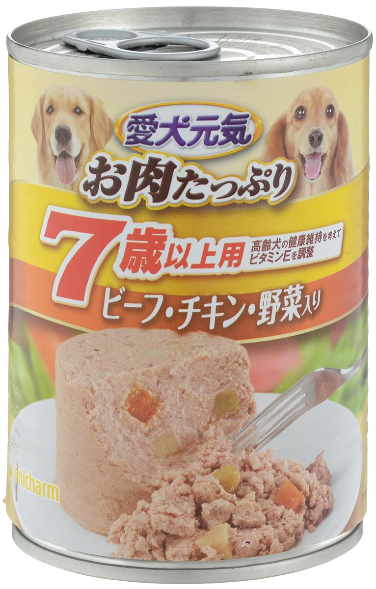Консервы Unicharm Aiken Genki для собак с 7 лет, с говядиной, курицей и овощами, 375 г671566Влажный корм для собак Unicharm Aiken Genki - это сбалансированное высококачественное питание для собак старше 7 лет. Аппетитные сочные кусочки говядины в тающем соусе не только вкусны, но и очень полезны. Продукт произведен с сохранением всех свойств натуральной говядины, содержит комплекс питательных веществ и микроэлементов, необходимых для полноценного развития вашего четвероногого друга. Корм полностью удовлетворяет ежедневные энергетические потребности взрослого животного и обеспечивает оптимальное функционирование пищеварительной системы. Состав: курица, говядина, куриный экстракт, пшеничная мука, приправа, глюкоза, ксилоза, витамины и минералы (В1, В2, В6, D, E, кальций, хлор, калий, натрий, фосфор), стабилизатор (гуаровая камедь), консервант (нитрит натрия), красители (диоксид титана, оксид железа). Пищевая ценность (на 100 г): белки - 5%, липиды - 4%, клетчатка - 1,5%, зола - 4%, влажность - 85%, энергетическая ценность 95 ккал. Товар...
