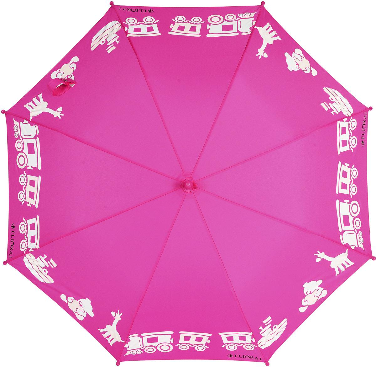 Зонт детский Flioraj, цвет: фуксия. 051210051210 FJ_розовый2Оригинальный и яркий детский зонт от Flioraj станет замечательным подарком для вашего ребенка. Изделие имеет механический способ сложения: и купол, и стержень открываются и закрываются вручную до характерного щелчка. Зонт состоит из восьми пластиковых спиц и стержня, изготовленного из металла. Яркий купол выполнен из качественного полиэстера, который не пропускает воду, и оформлен принтом в виде игрушек. Ручка выполнена из пластика и дополнена подвеской-свистком. Оригинальный дизайн зонта поднимет настроение не только вам, но и окружающим.