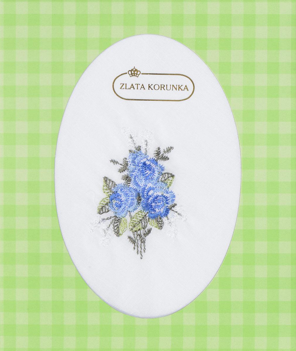 Платок носовой женский Zlata Korunka, цвет: белый, голубой. 40124. Размер 27 х 27 см40124_белый, голубые цветыЖенский носовой платок Zlata Korunka изготовлен из натурального хлопка, приятен в использовании, хорошо стирается, материал не садится и отлично впитывает влагу. Поставляется в фирменной упаковке. В упаковке 1 штука.