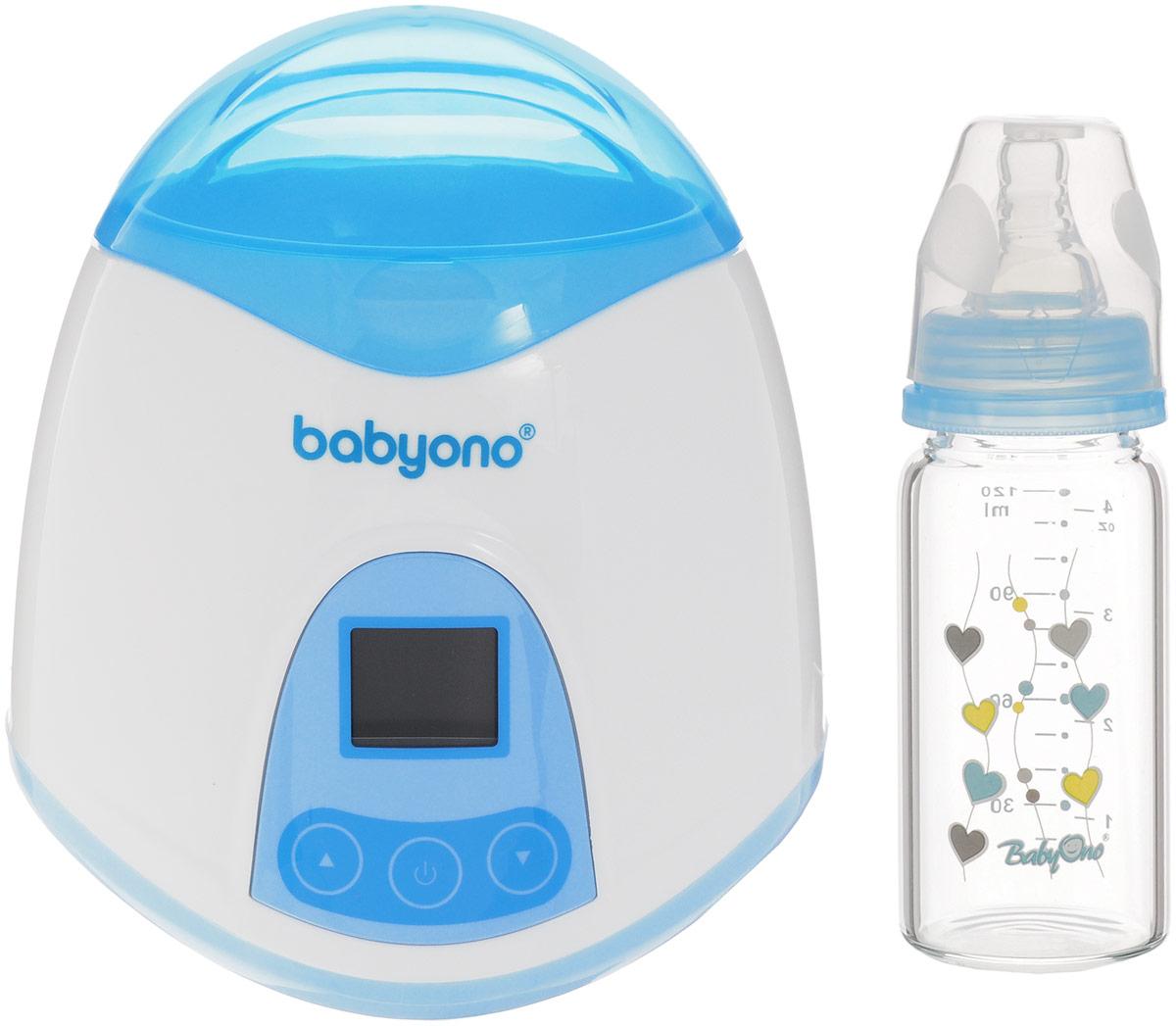 BabyOno Электрический подогреватель 2 в 1218_бутылочкаЭлектрический подогреватель 2 в 1 BabyOno существенно сэкономит мамино время и поможет быстро подогреть водичку для приготовления смеси малютке. У вас появится больше приятных минут, которые вы с радостью проведете с малышом. Благодаря широкому диапазону температур вы сможете всегда легко подогреть пищу в специальной мисочке на водяной бане, сохраняя питательные вещества. Подогреватель поддерживает функцию постоянной температуры и оснащен дисплеем с подсветкой. Вместе с подогревателем в комплект идет бутылочка на 120 мл в которой можно подогреть все что захочется до заданной температуры.
