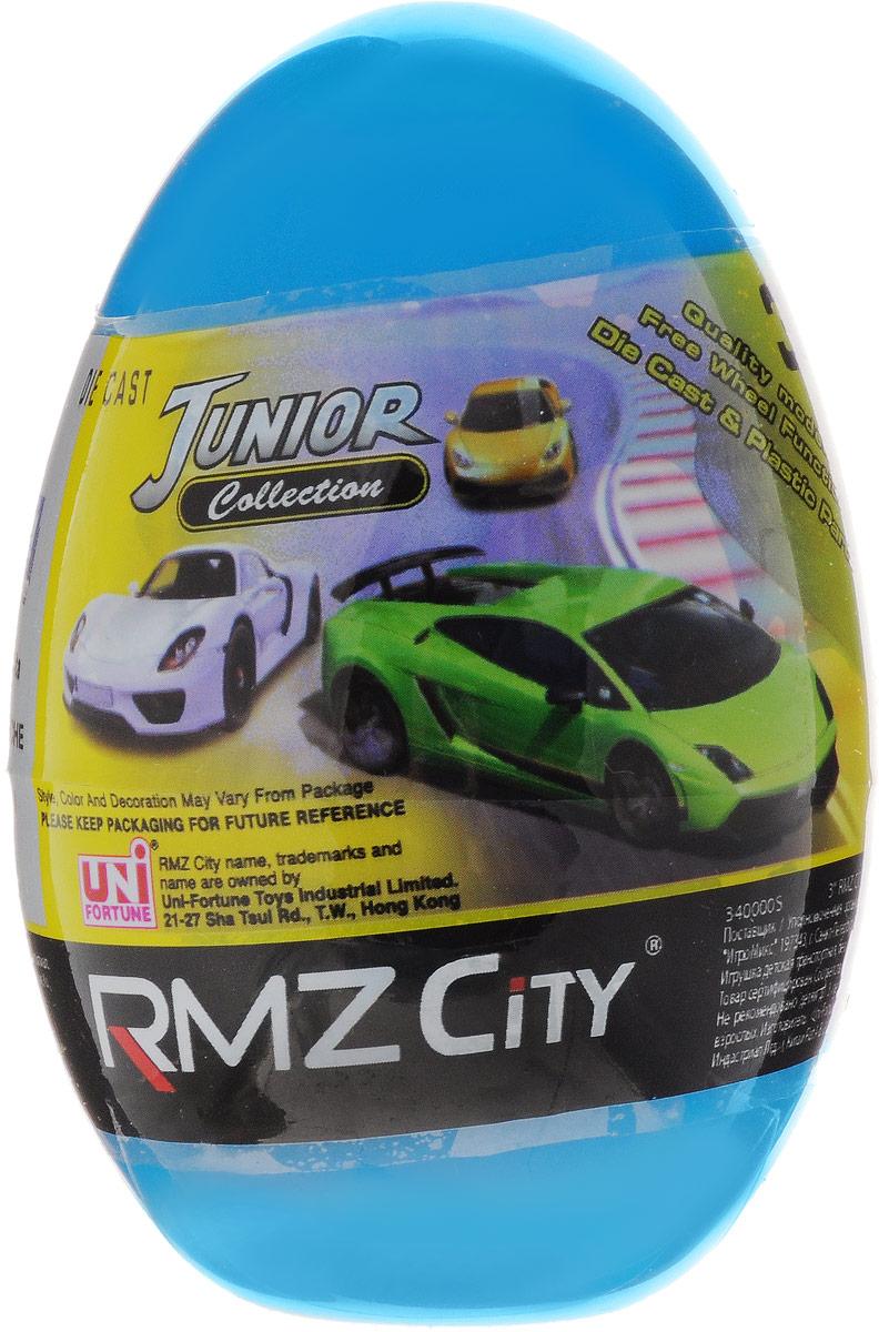 Uni-Fortune Toys Яйцо с моделью автомобиля340000S-36Q_голубойКаждый мальчик будет рад яйцу с сюрпризом, ведь в нем спрятана металлическая модель машинки в масштабе 1/64. В серии RMZ City всего представлено 9 моделей. Машинка отлично развивает скорость на гладкой поверхности, если ее подтолкнуть, и в точности повторяет внешний вид настоящего автомобиля.