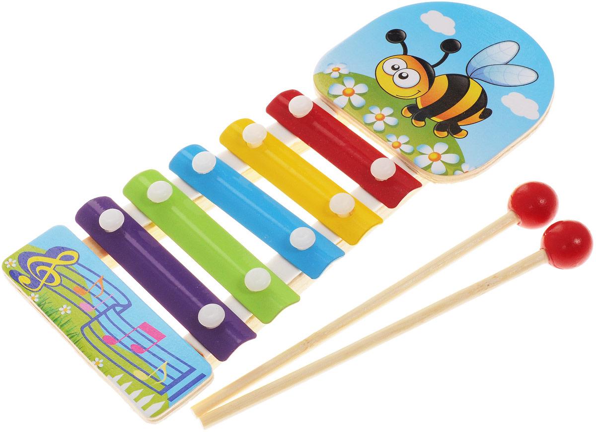ABtoys Ксилофон ПчелаD-00042_ пчелкаКсилофон ABtoys Пчела непременно порадует маленького музыканта. Инструмент создан из экологически безопасных материалов. Игрушка имеет яркий цвет и обязательно привлечет внимание малыша. Ксилофон украшен изображением пчелки и имеет пять разноцветных клавиш. Палочки-молоточки позволят вашему ребенку сочинять различные мелодии. Игрушка поможет вашему ребенку развить мелкую моторику, музыкальный слух, воображение и цветовое восприятие.