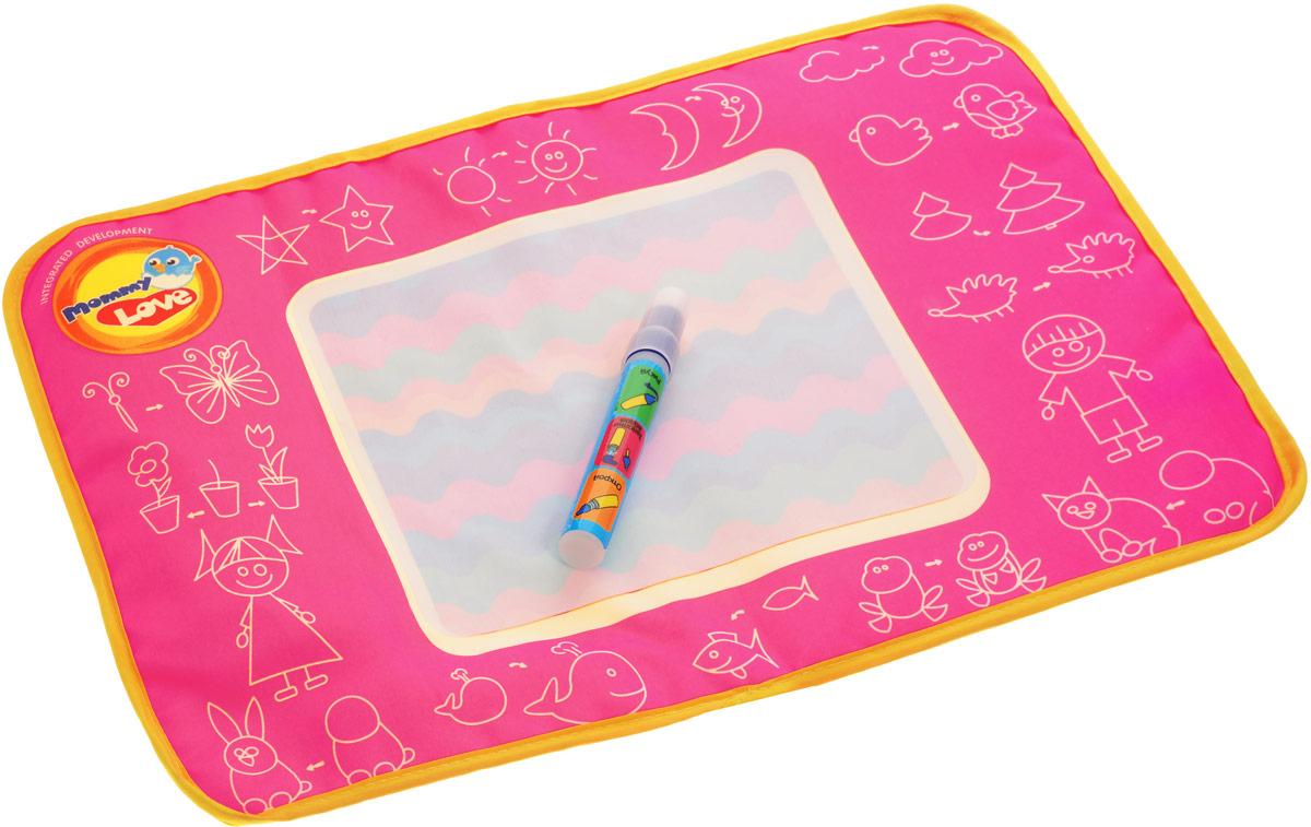 Mommy Love Развивающая игрушка Рисуем водойRIV1_розовыйРазвивающая игрушка Mommy Love Рисуем водой приведет в восторг вашего малыша. Игрушка выполнена из качественного и безопасного текстиля и пластика в виде коврика для рисования. Для игры необходимо наполнить фломастер водой, затем сделать рисунок на коврике, дождаться когда рисунок исчезнет и нарисовать новый. Игрушка способствует развитию моторных, логических навыков и визуального восприятия малыша. Порадуйте ребенка таким замечательным подарком!