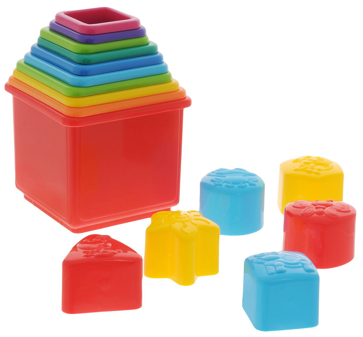 Playgo Пирамида-сортерPlay 2384Пирамида-сортер от Playgo представляет собой башню из пластиковых стаканчиков на основании. Ребенок сможет строить пирамидку и играть с ней в игровой комнате, а также весело плескаться водой из колпачков при купании. Малыш придет в восторг от такой замечательной игрушки.В наборе 16 стаканчиков разного размера и различных форм с морскими животными Изделие выполнено из высококачественного пластика и покрыто безопасными для детей красками.