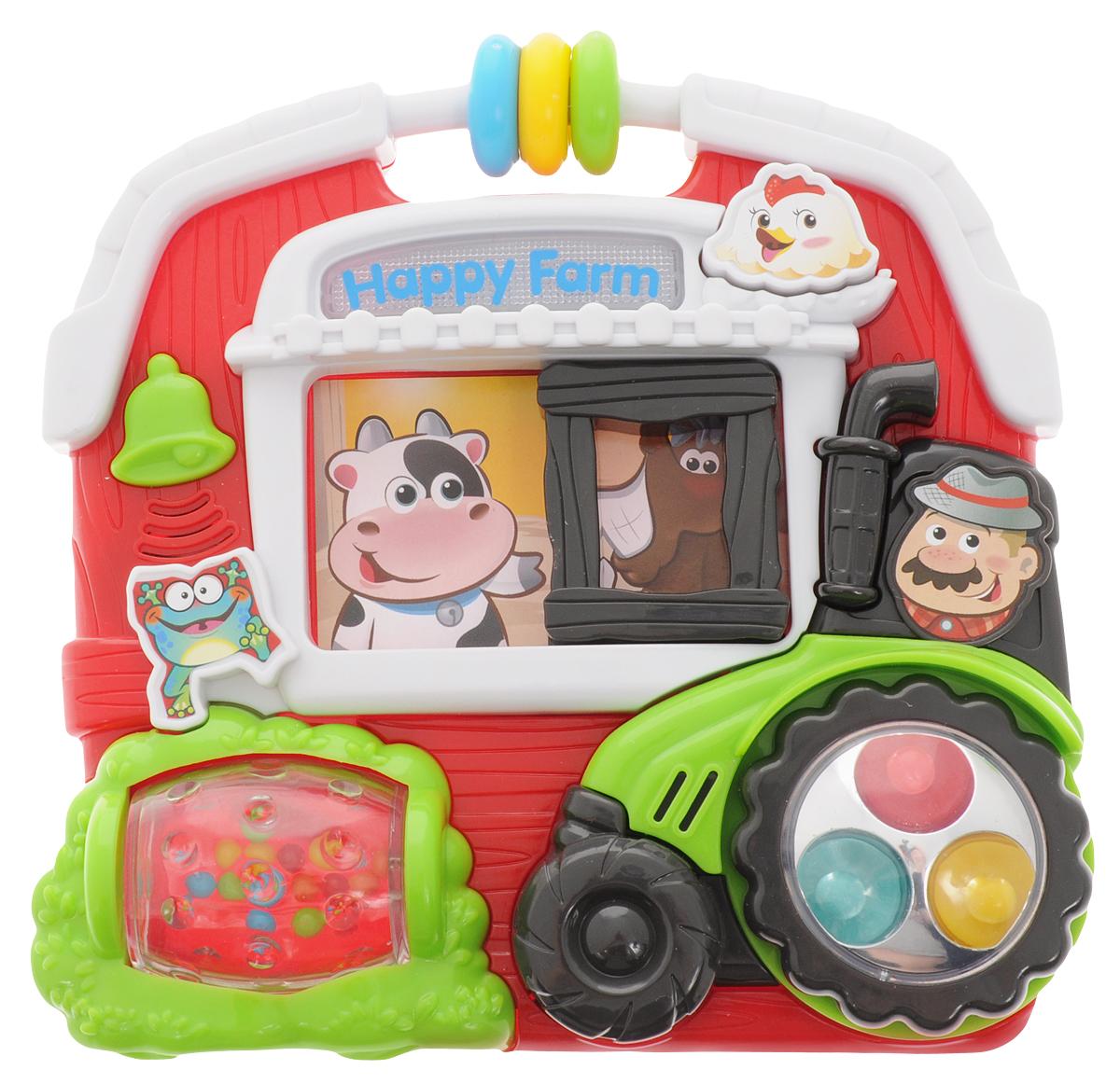Playgo Развивающая игрушка Маленькая фермаPlay 1002Развивающая игрушка Playgo Маленькая ферма станет прекрасным подарком для крохи. Курочка, коровка, лошадка, лягушка и веселый фермер занимаются своими обычными делами, малыш сможет им помочь в этом непростом деле. Колесики трактора крутятся, а нажимая на кнопочки, малыш услышит различные звуки. Игрушка также оснащена световыми эффектами. Кроме того, у игрушки имеется крутящийся барабан и двигающиеся цветные колечки. Изготовленная из качественного пластика, яркая игрушка поможет развить тактильные ощущения, звуковое восприятие, воображение, световое восприятие и моторику ручек. Небольшой размер позволит брать веселую игрушку на прогулку или в поездку. Рекомендуется докупить 2 батарейки напряжением 1,5V типа АА (товар комплектуется демонстрационными).