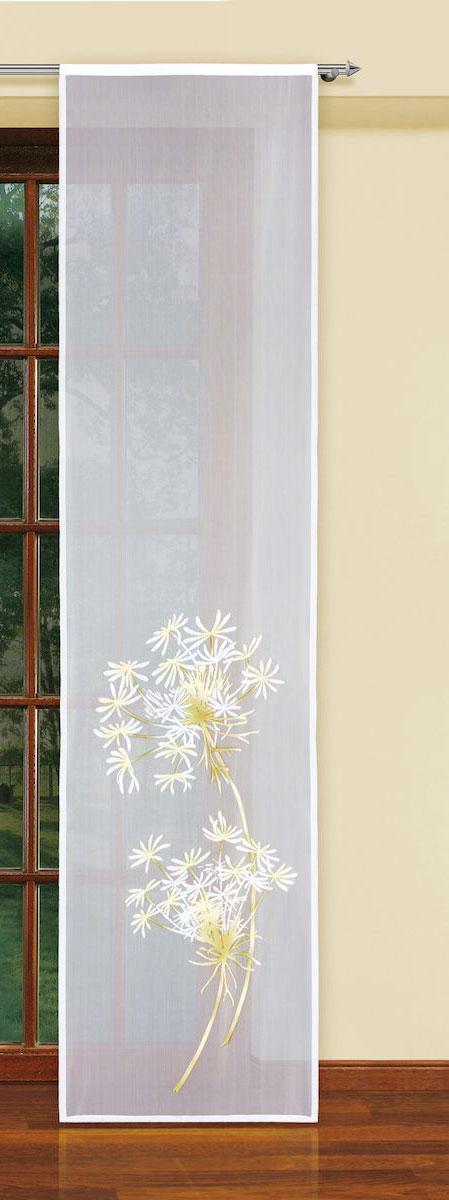 Гардина-панно Haft, на кулиске, цвет: белый, высота 250 см. 5934059340/60Оригинальная гардина-панно Haft, выполненная из полиэстера, великолепно украсит любое окно. Изделие украшено изображением цветов и органично впишется в интерьер помещения. Комплект крепится на карниз при помощи кулиски.