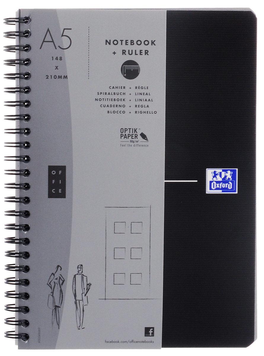 Oxford Тетрадь Essentials 90 листов в клетку цвет черный822566_черный/клеткаКрасивая и практичная тетрадь Oxford Essentials отлично подойдет для школьников, студентов и офисных служащих. Обложка тетради выполнена из плотного, но гибкого ламинированного картона с закругленными краями. Тетрадь формата А5 состоит из 90 белых листов на двойном гребне с линовкой в клетку без полей. Практичное и надежное крепление на гребне позволяет отрывать листы. Тетрадь дополнена съемной закладкой-линейкой из матового полупрозрачного пластика. Высококачественная бумага Optik Paper имеет шелковистую поверхность и высокую белизну, при письме чернила быстро впитываются и не размазываются, надпись не просвечивается с обратной стороны листа. Вне зависимости от профессии и рода деятельности у человека часто возникает потребность сделать какие-либо заметки. Именно поэтому всегда удобно иметь эту тетрадь под рукой, особенно если вы творческая личность и постоянно генерируете новые идеи.