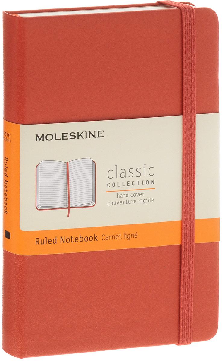 Moleskine Блокнот Classic Pocket 96 листов в линейку385224_оранжевыйБлокнот Moleskine  Classic Pocket - яркий и позитивный вариант классического молескина в твердой обложке. Внутренний блок состоит из 192 листов безкислотной бумаги приятного желтоватого цвета. Блок в линейку особенно удобен для составления расписания, деловых или творческих заметок или списка покупок. Также в блокноте сохранены все достоинства классического молескина - скругленные уголки, кармашек на задней обложке, перехватывающая блокнот резиночка и плетеная закладка. Данный блокнот карманного размера поместится практически в любой сумке или кармане. Обложка легко чистится влажной тряпкой. Ваш молескин не потеряет внешний вид при частом использовании.