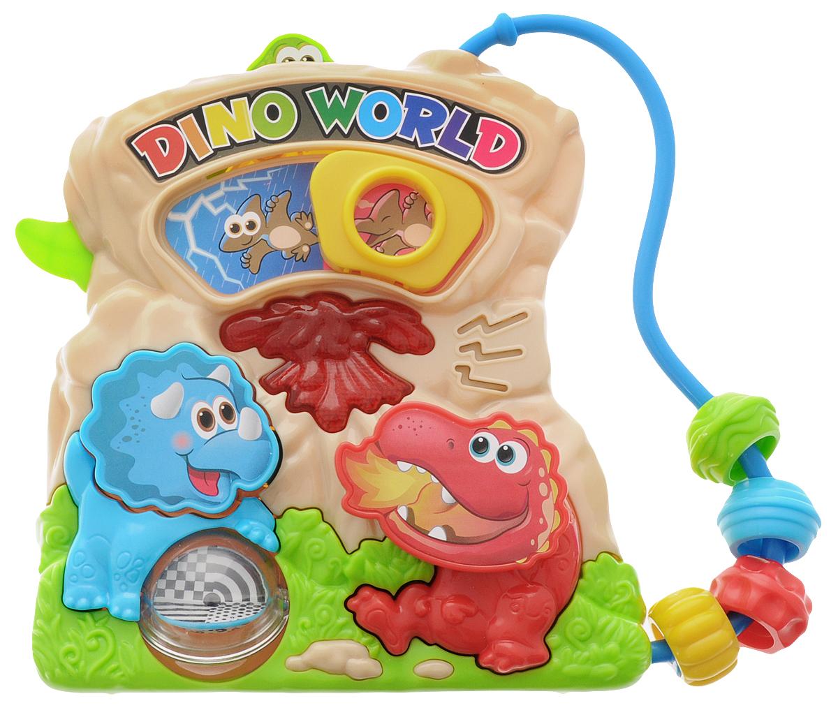 Playgo Развивающая игрушка Мир динозавровPlay 1006Развивающая игрушка Playgo Мир динозавров станет прекрасным подарком для крохи. Динозавры в своей обычной среде обитания рады провести время с малышом. Колесо фортуны крутится, а нажимая на кнопочки, малыш услышит различные звуки. Кроме того, у игрушки имеются двигающиеся цветные колечки. Изготовленная из качественного пластика, яркая игрушка поможет развить тактильные ощущения, звуковое восприятие, воображение, световое восприятие и моторику ручек. Небольшой размер позволит брать веселую игрушку на прогулку или в поездку. Рекомендуется докупить 2 батарейки напряжением 1,5V типа АА (товар комплектуется демонстрационными).