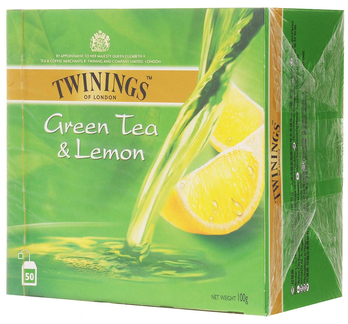 Twinings Green Tea & Lemon чай зеленый в пакетиках, 50 шт23304Twinings Green Tea & Lemon - это уникальная смесь сортов зеленого чая с добавлением высушенной лимонной цедры. Подарит ощущения бодрости на весь день.