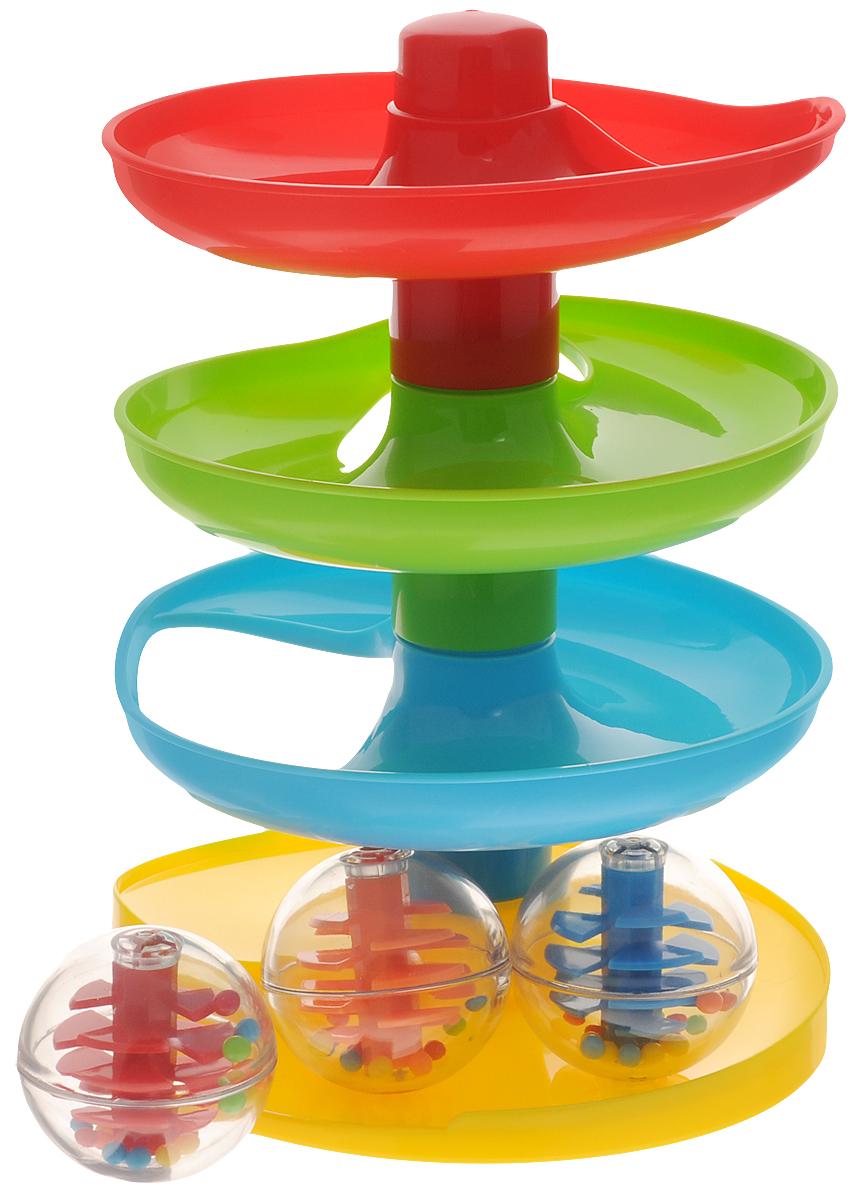 Playgo Развивающая игрушка Лабиринт с шарикамиPlay 1756Развивающая игрушка Playgo Лабиринт с шариками привлечет внимание малыша большими размерами и яркими красками. Лабиринт представляет собой башню с 4 спиралевидными уровнями. Как здорово взять шарик положить его на самый верхний уровень и наблюдать как он промчится с самого верха вниз. С такой игрушкой малышу никогда не будет скучно. Ее можно взять на дачу, или в гости. Обладатель этой игрушки может позвать друзей и вместе придумать множество интересных игр.