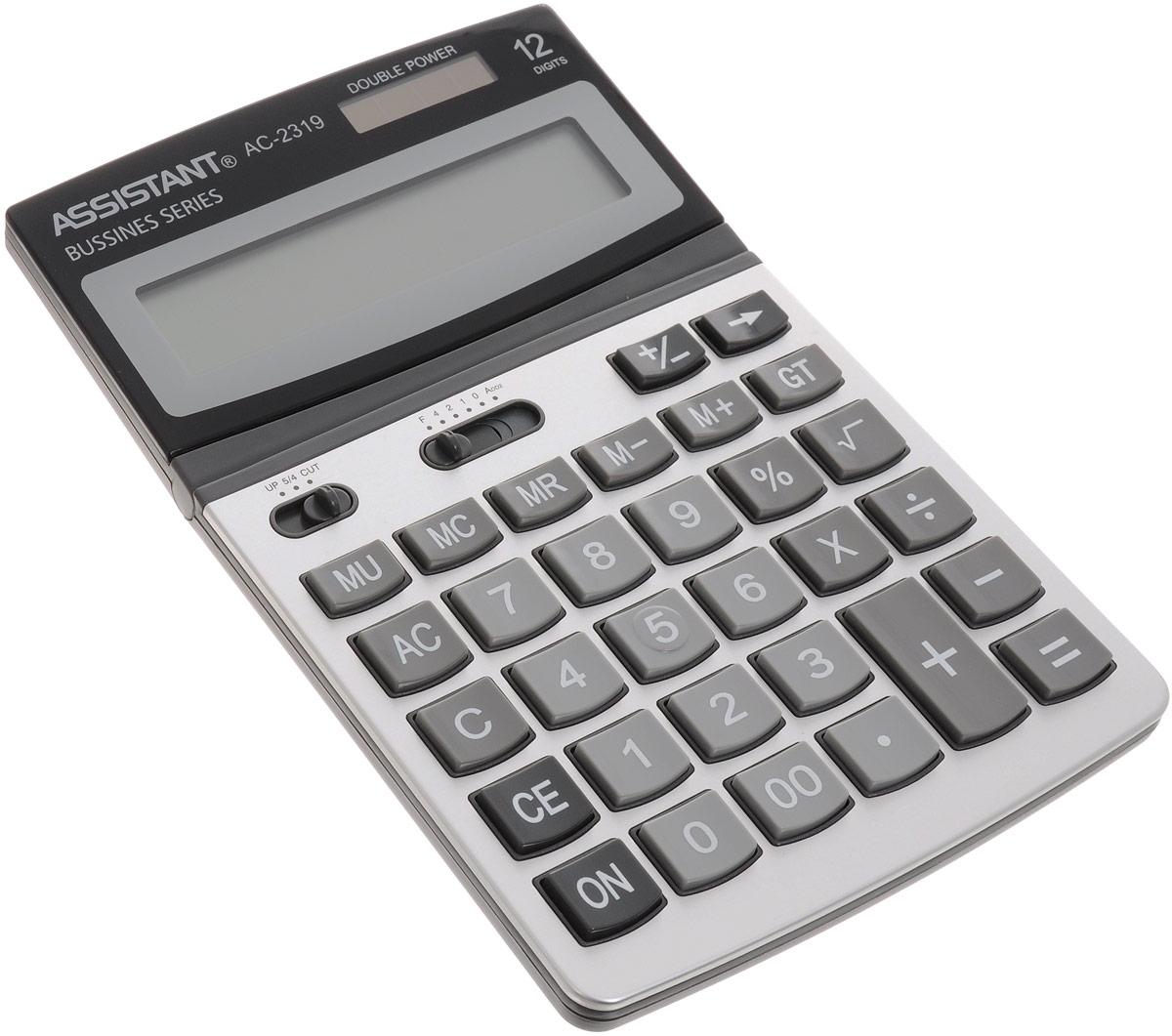 Калькулятор Assistant AC-2319, 12-разрядныйAC-2319Классический настольный калькулятор с большим 12-разрядным дисплеем и чувствительной клавиатурой с большими пластиковыми кнопками. Калькулятор имеет двойную систему питания: от солнечного элемента и от батареи, - что гарантирует ему бесперебойную работу на несколько лет. Привлекательный стильный дизайн сделает калькулятор отличным дополнением вашего рабочего места. 12-ти разрядный дисплей Вычисление процентов Итоговая сумма Операции с наценками и скидками Двойное питание Пластиковые кнопки Металлическая лицевая панель Регулируемый дисплей Удаление последнего введенного символа Характеристики: Размер калькулятора: 20 х 13 х 2,8 см. Размер дисплея: 10,3 см х 2,3 см. Цвет: черный, серый. Изготовитель: Китай.