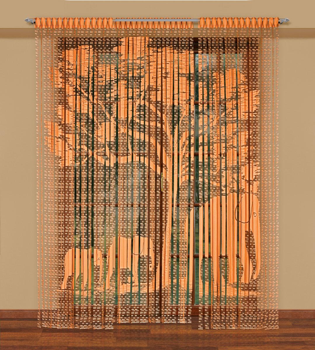Гардина-лапша Haft, на петлях, цвет: оранжевый, высота 270 см. 212180212180/250 оранжевыйЛегкая гардина-лапша на петлях Haft, изготовленная из полиэстера, станет великолепным украшением любого окна. Оригинальный дизайн и приятная цветовая гамма привлекут к себе внимание и органично впишутся в интерьер комнаты.