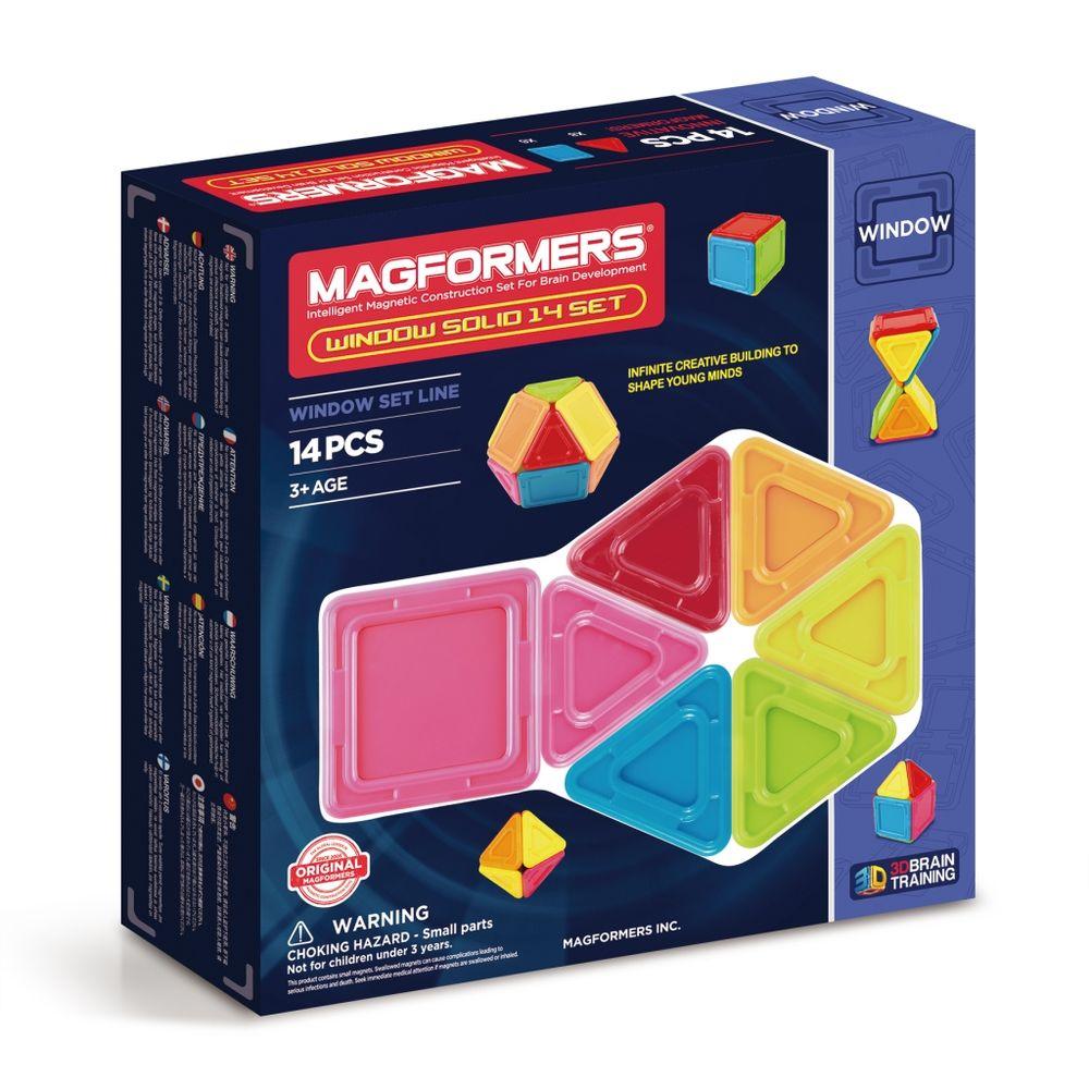 Magformers Магнитный конструктор Window Solid Set 14714005Главная особенность набора Magformers Window Solid 14 Set — детали со сплошным непрозрачным центром В составе набора 14 деталей из непрозрачного пластика ярких «карандашных» цветов, которые так нравятся малышам. В комплект входит 8 квадратов, 6 треугольников и яркая, хорошо иллюстрированная книга идей. Magformers Window Solid 14 Set можно использовать с имеющимися в наличии наборами magformers. С их помощью можно построить пол в многоэтажном доме, или днище автомобиля и звездолета.