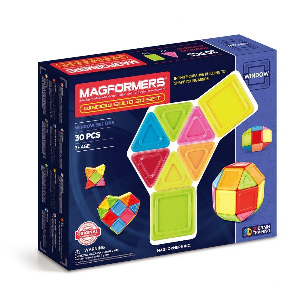 Magformers Магнитный конструктор Window Solid Set 30714006Главная особенность набора Magformers Window Solid 30 Set — детали со сплошным непрозрачным центром. Детали из непрозрачного пластика ярких, жизнерадостных цветов добавят постройкам объем и основательность. В комплект входит 30 деталей — 18 квадратов и 12 треугольников. Набор Magformers Window Solid 30 Set станет прекрасным дополнением к Вашей коллекции Магформерс.