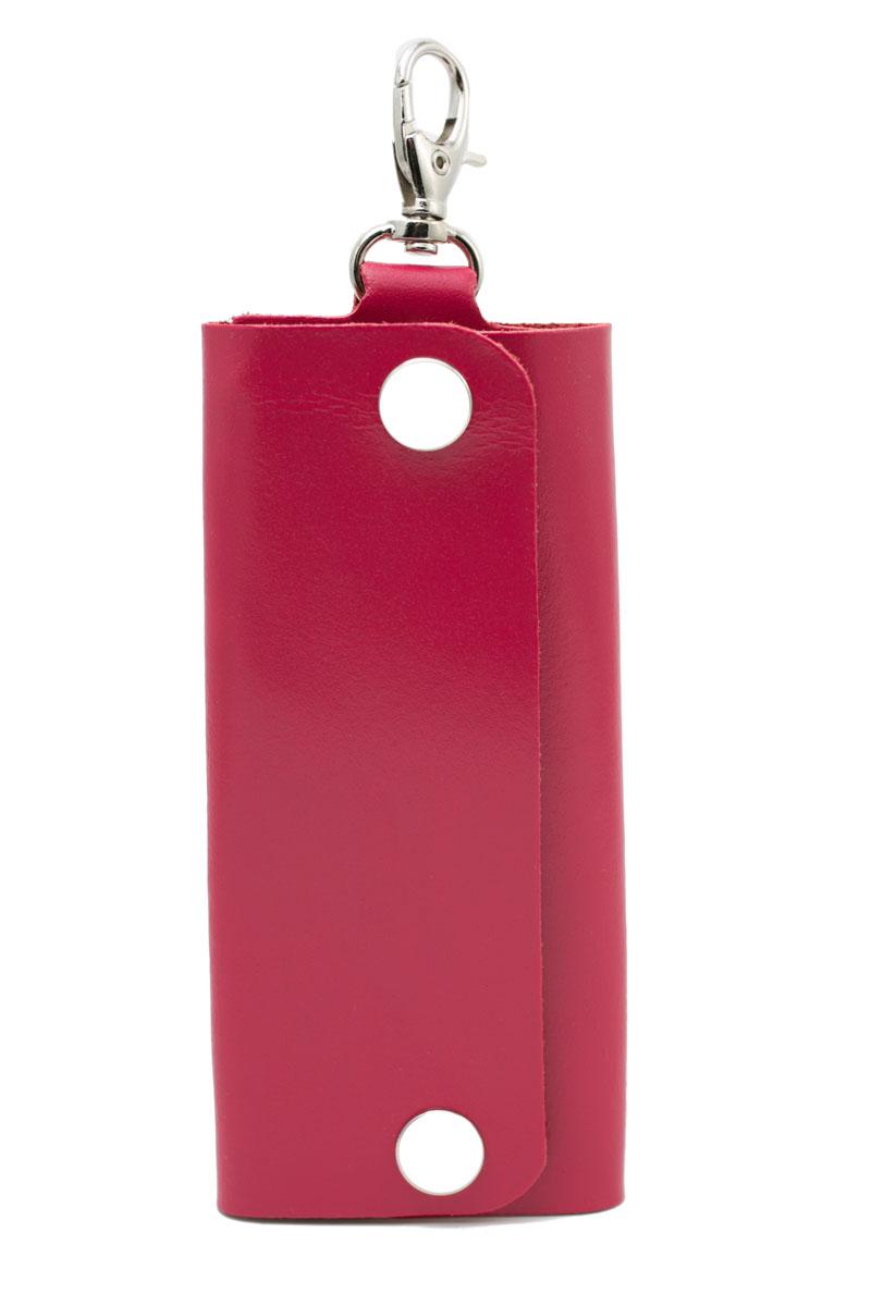 Ключница женская Mitya Veselkov, цвет: малиновый. SPEKTR-KLYUCH-PINKSPEKTR-KLYUCH-PINKКлючница Mitya Veselkov выполнена из натуральной гладкой кожи. Изделие закрывается с помощью кнопок. Внутри расположена металлическая панель с шестью фиксаторами для ключей. Ключница оснащена замком-карабином, с помощью которого изделие можно фиксировать на одежду.