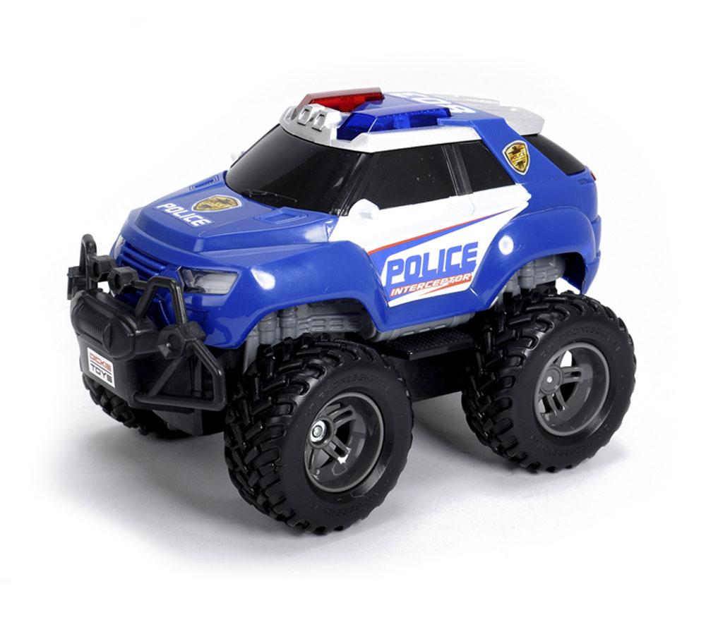 Dickie Toys Машинка на радиоуправлении Джип Полиция19056Радиоуправляемый полицейский внедорожник Dickie Toys Джип Полиция способен догнать преступников даже в непроходимой местности. Эта машинка является уменьшенной копией настоящей машины полицейского. Машина оснащена световыми и звуковыми эффектами и может развивать скорость до 10 км/ч. Мощность ее составляет не более 10 мВт, а разнос каналов 50 кГц. С пульта управления возможно управлять многими функциями автомобиля: турбо ускорением для плавного разгона и торможением. Машина имеет полное радиоуправление во всех направлениях. Машина работает 3 батареек напряжением 1,5 V типа AA (входят в комплект). Пульт управления работает от 1 батарейки Крона (входит в комплект).