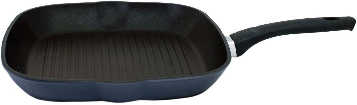 Сковорода-гриль Casta Positive, квадратная, с антипригарным покрытием, 26 х 26 см. П2626-ГРКП2626-ГРКСковорода-гриль Casta Positive предназначена для здорового и экологичного приготовления пищи. Корпус изделия изготовлен из литого алюминия с двухслойным внутренним антипригарным покрытием Greblon NewTec. Покрытие упрочненное, имеет отличные антипригарные свойства, не содержит вредных веществ в том числе PFOA, свинца, кадмия. Пища не пригорает и не прилипает к стенкам. Рифленая внутренняя поверхность образует аппетитную корочку. Такая сковорода замечательно подойдет для приготовления жаренных и тушеных блюд, а также прекрасно подходит для приготовления как стейков, так и овощей. Внешнее декоративное покрытие Greblon Decor имеет высокую устойчивость к термическому воздействию, что позволяет использовать посуду на всех распространенных видах варочных поверхностей, включая стеклокерамику. Термостойкая рукоятка специального дизайна, выполненная из бакелита, удобна и комфортна в эксплуатации. Не используйте металлические лопатки или ложки, это может...