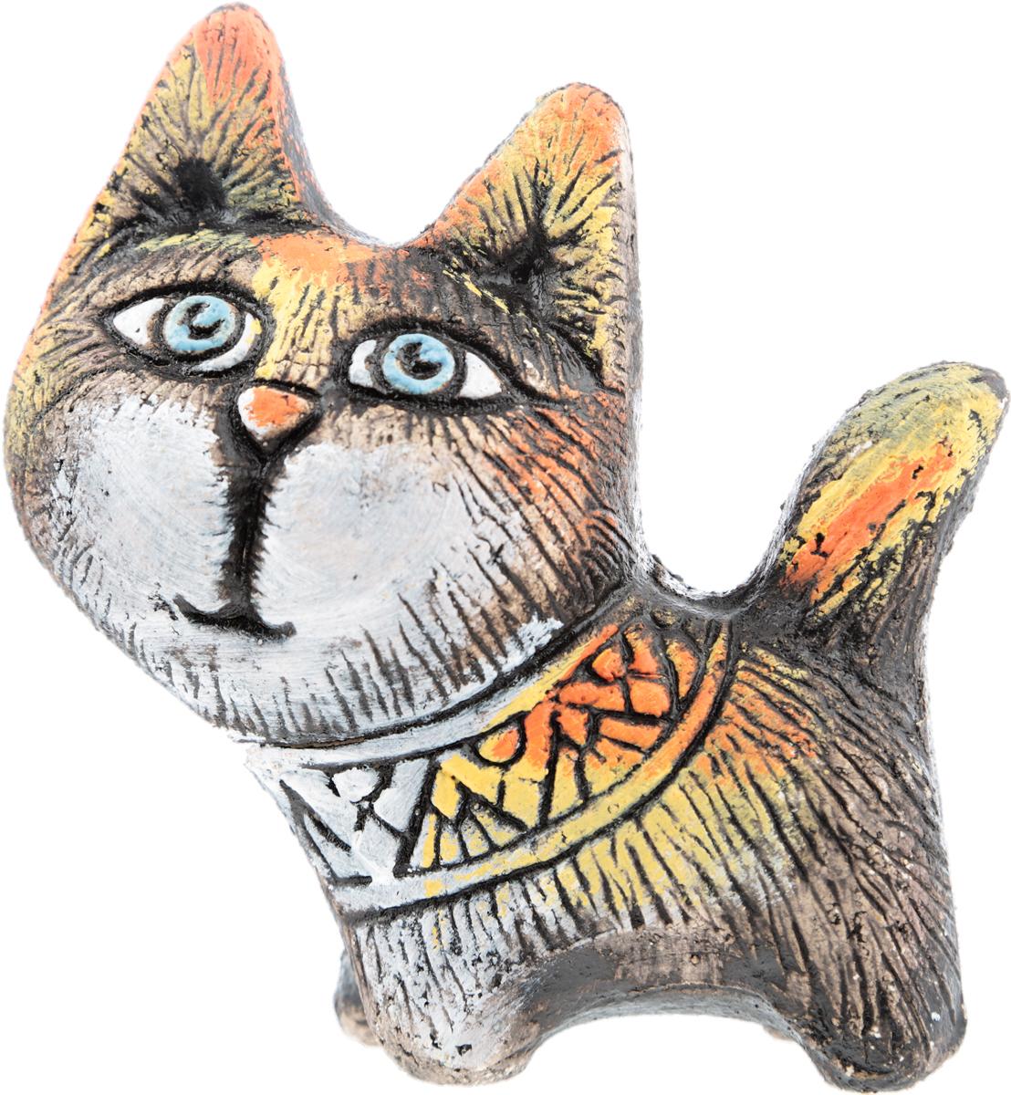 """Юрий Стукалов Статуэтка """"Кошка Южная"""", авторская работа. Шамотная глина, глазурная и ангобная роспись, ручная работа. Высота 13 см"""