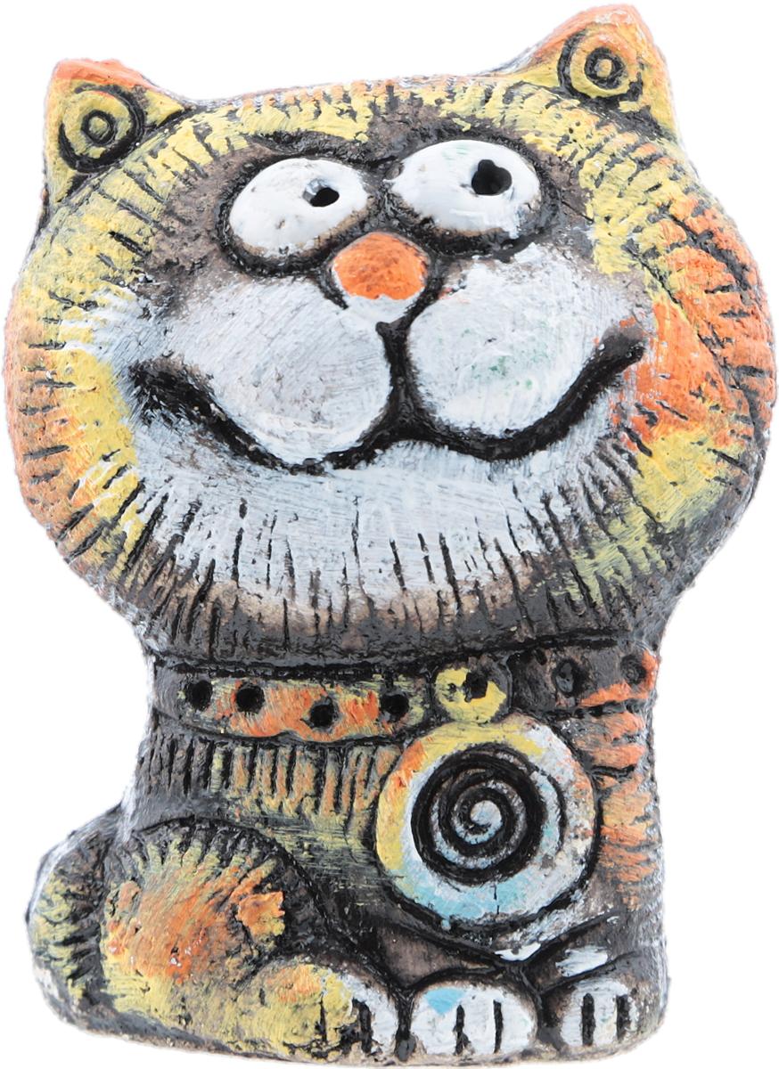 """Юрий Стукалов Статуэтка """"Кот-бродяга"""", авторская работа. Шамотная глина, глазурная и ангобная роспись, ручная работа. Высота 9 см."""