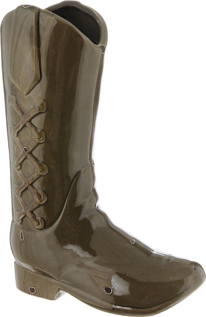 Ваза House & Holder, цвет: коричнево-зеленый, высота 30 смDP-B65-11D100L-1NЭкстравагантная ваза House & Holder, изготовленная из керамики, выполнена в виде сапога. Такое оформление делает ее изящным украшением интерьера. Ваза House & Holder дополнит интерьер офиса или дома и станет желанным и стильным подарком. Размер вазы: 21 х 9,5 х 30 см.