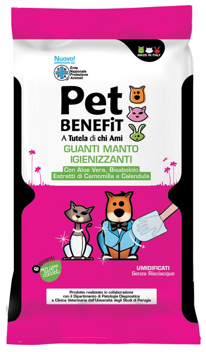 Очищающие влажные перчатки Pet Benfit, для ухода за шерстью, 6 шт048008RUОдноразовые перчатки, пропитанные чистящим веществом для очистки шерсти собак и кошек. 6 штук в упаковке