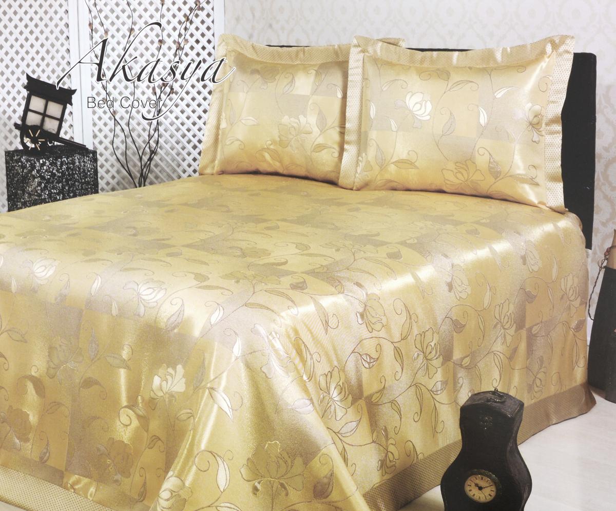 Комплект для спальни Karna Nazsu. Akasya: покрывало 240 х 260 см, 2 наволочки 50 х 70 см, цвет: золотистый811/1/CHAR006Изысканный комплект Karna Nazsu. Akasya прекрасно оформит интерьер спальни или гостиной. Комплект состоит из покрывала и двух наволочек. Изделия изготовлены из 50% хлопка и 50% полиэстера. Постельные комплекты Karna уникальны, так как они практичны и универсальны в использовании. Материал хорошо сохраняет окраску и форму. Изделия долговечны, надежны и легко стираются. Комплект Karna не только подарит тепло, но и гармонично впишется в интерьер вашего дома. Размер покрывала: 240 х 260 см. Размер наволочки: 50 х 70 см.