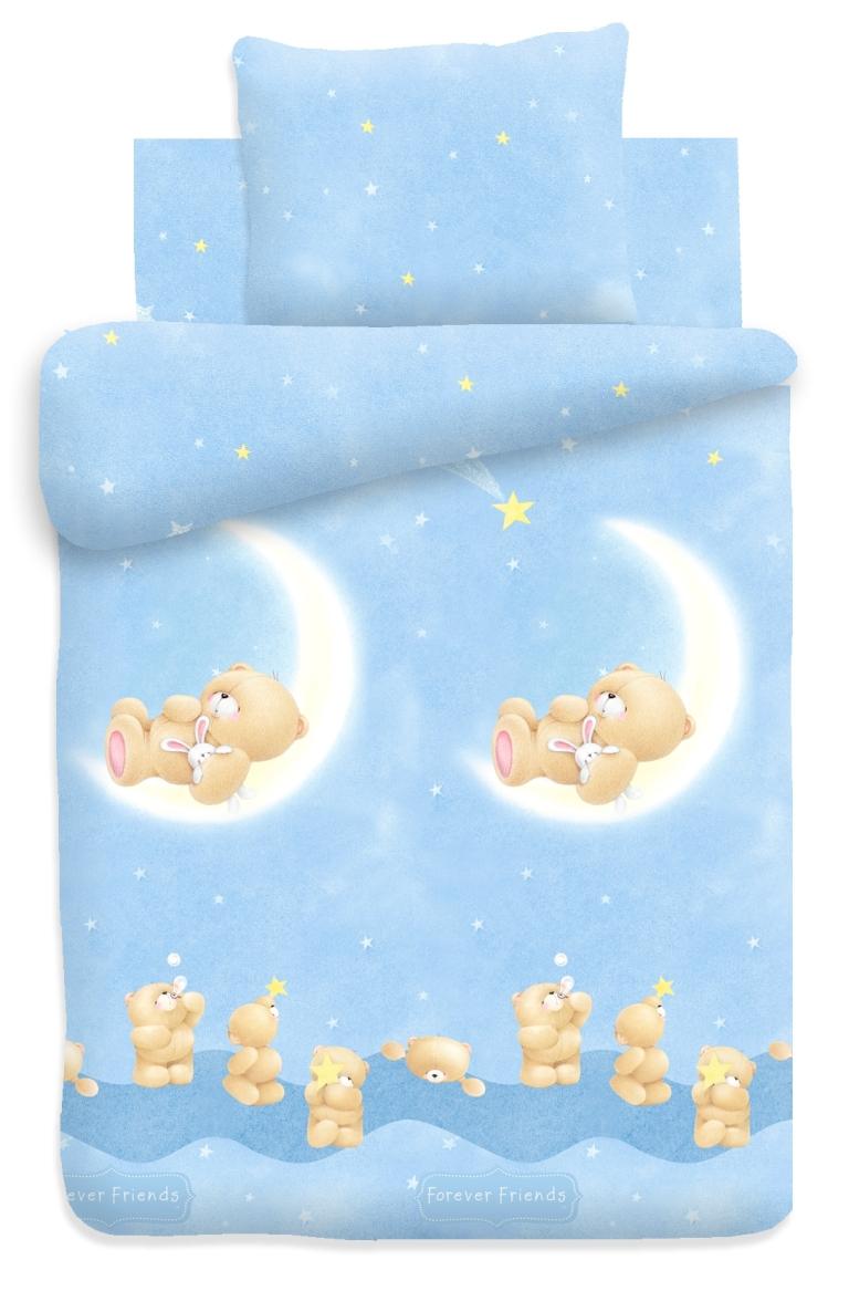 Forever Friends Комплект белья для новорожденных Лунный мишка цвет голубой 8621/8622 вид 1