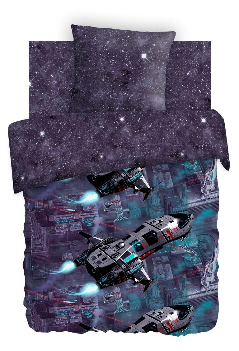 Комплект детского постельного белья For You Космическая база, цвет: темно-синий (8755/8557 вид 1)336448
