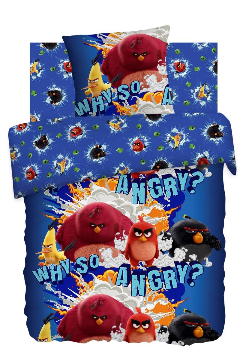 Комплект детского постельного белья Angry Birds Злые Птички, цвет: синий (8762/8763 вид 1)349405