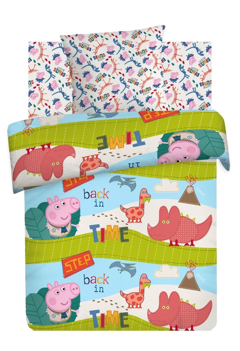 Комплект детского постельного белья Свинка Пеппа Диноэра, цвет: зеленый (8777/8778 вид 1)354189