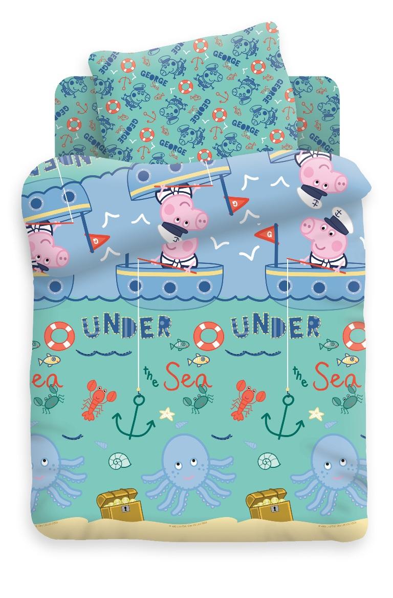 Свинка Пеппа Комплект белья для новорожденных Джордж рыбак цвет бирюзовый 8806/8807