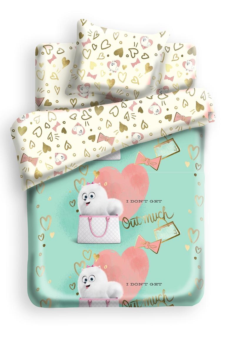 Комплект детского постельного белья Тайная жизнь домашних животных Гиджет, цвет: бирюзовый (8767/8768)364198