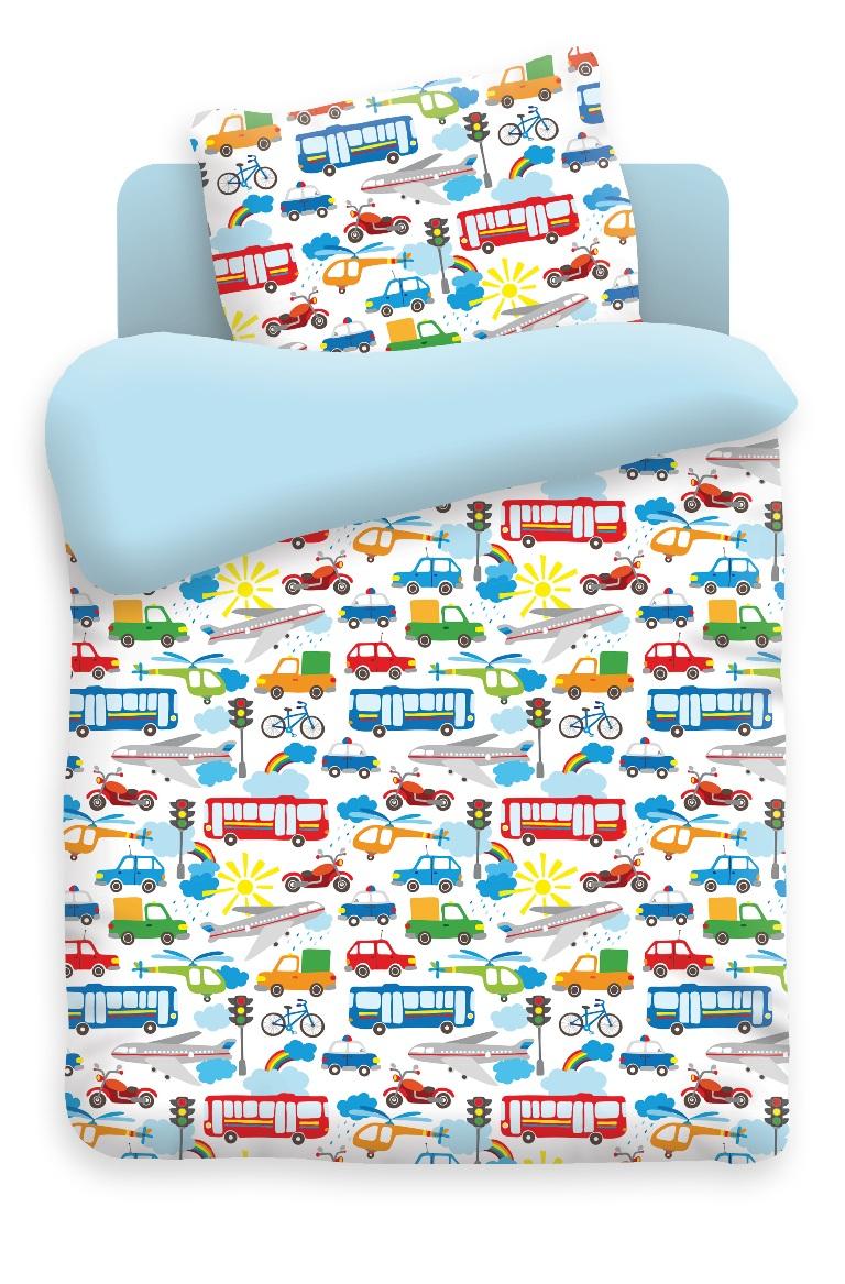 Непоседа Комплект белья для новорожденных Городское движение цвет голубой 4622 вид 1370587