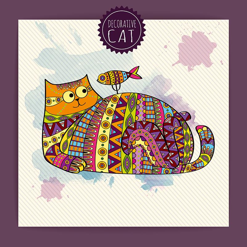 Картина Postermarket Кот и рыбка, роспись акварель, 30 х 30 см. AG 30-30AG 30-30
