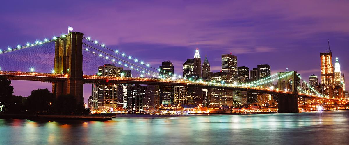 Канвасы Postermarket Бруклинсий мост и ночной Манхэттан, 45 х 115 см. CT4-22CT4-22