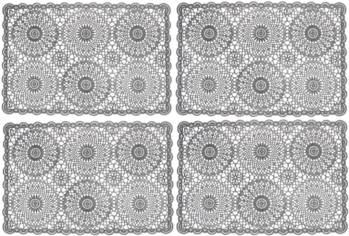 Набор сервировочных салфеток GiftnHome, цвет: темно-серый, 45,5 х 30,5 см, 4 штFY014Набор GiftnHome, изготовленный из винила, состоит из четырех ажурных салфеток. Такие салфетки - это отличная идея для сервировки! Изделия имеют оригинальный дизайн. Салфетки защищают поверхность стола от воздействия температур, влаги и загрязнений, а также украшают интерьер. Размер салфетки: 45,5 см х 30,5 см.