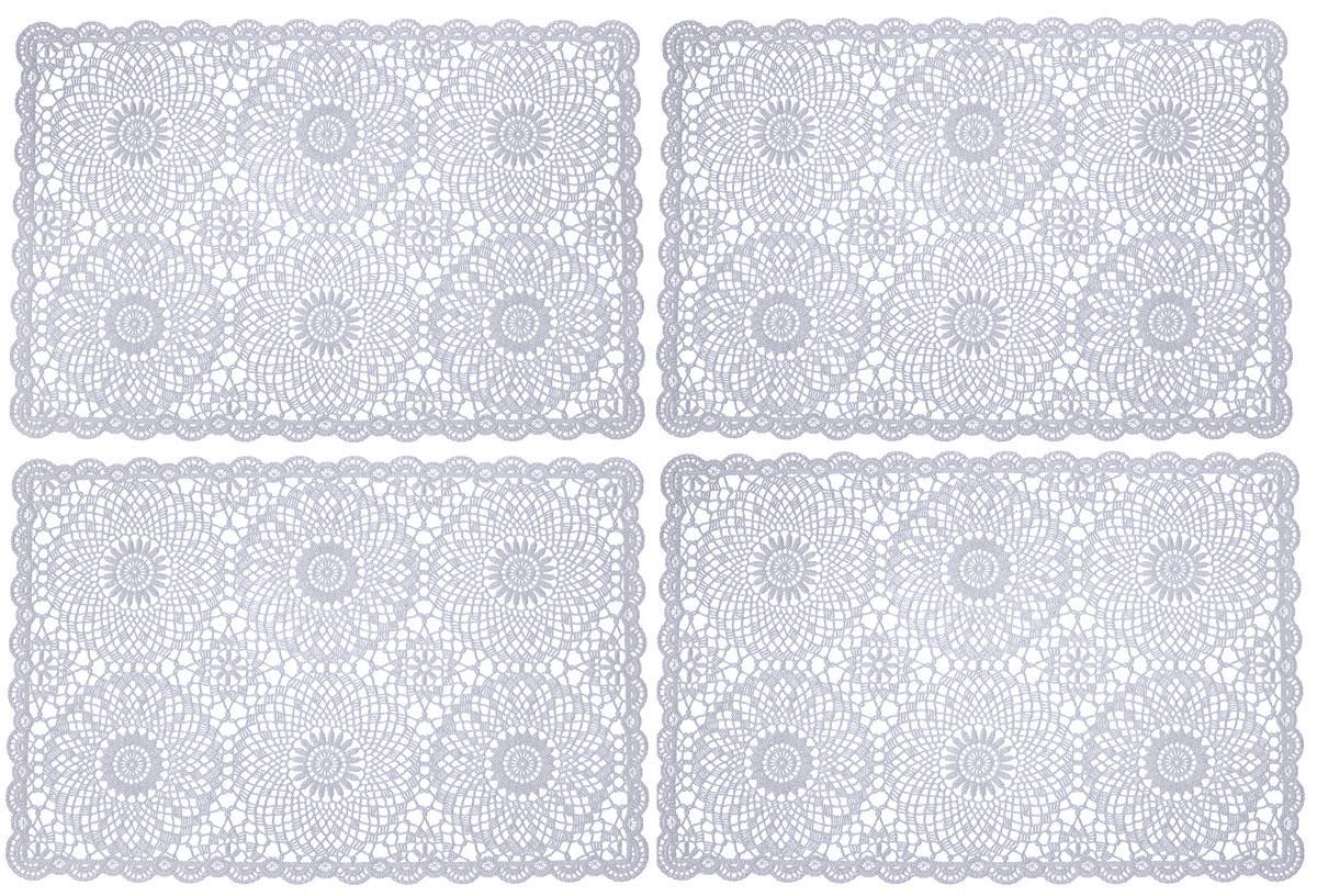 Набор сервировочных салфеток GiftnHome, цвет: серый, 45,5 х 30,5 см, 4 штFY015Набор GiftnHome, изготовленный из винила, состоит из четырех ажурных салфеток. Такие салфетки - это отличная идея для сервировки! Изделия имеют оригинальный дизайн. Салфетки защищают поверхность стола от воздействия температур, влаги и загрязнений, а также украшают интерьер. Размер салфетки: 45,5 см х 30,5 см.